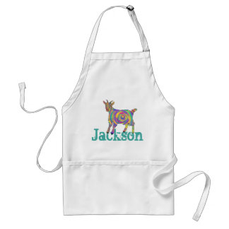 Funny Psychedelic Art Goat Design add Your Name Standard Apron