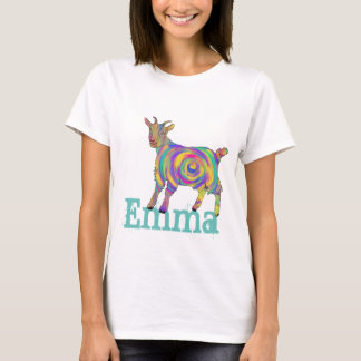 Funny Psychedelic Art Goat Design add Your Name T-Shirt