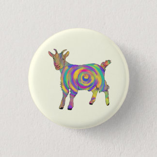 Funny Psychedelic Goat Colourful Spiral Animal Art 3 Cm Round Badge