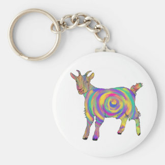 Funny Psychedelic Goat Colourful Spiral Animal Art Key Ring