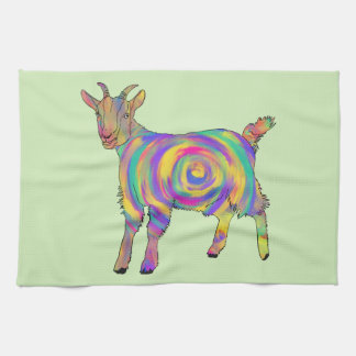 Funny Psychedelic Goat Colourful Spiral Animal Art Tea Towel