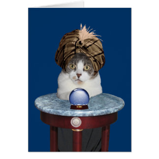 Funny Psychic Kitty Thinking About You Card