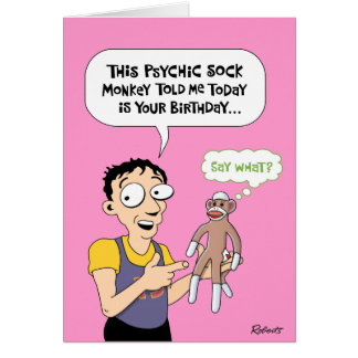 Funny Psychic Sock Monkey Birthday Card