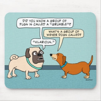 Funny Pug and Dachshund Mousepad