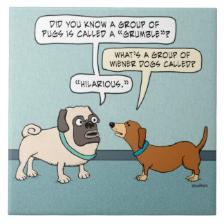 Funny Pug and Dachshund Tile