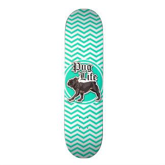 Funny Pug Aqua Chevron Skate Board Decks