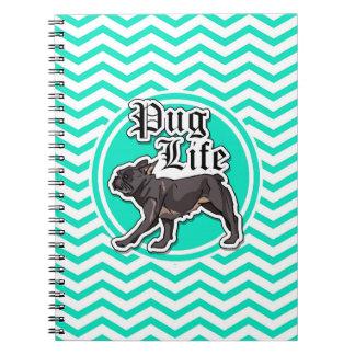 Funny Pug Aqua Chevron Spiral Note Book
