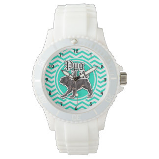 Funny Pug; Aqua Chevron Watch