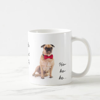 Funny pug Christmas mug change text.