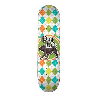 Funny Pug; Colorful Argyle Pattern Skate Board