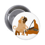 Funny Pug Dog Playing Piano 6 Cm Round Badge