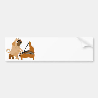 Funny Pug Dog Playing Piano Bumper Sticker