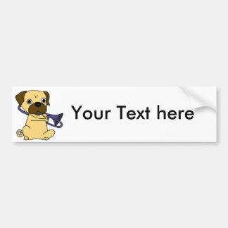 Funny Pug Dog Playing Trombone Bumper Sticker
