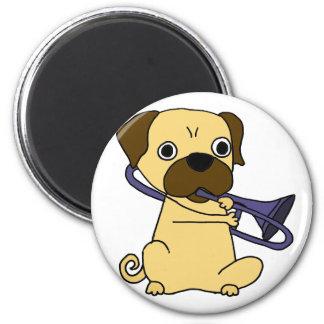 Funny Pug Dog Playing Trombone Magnet