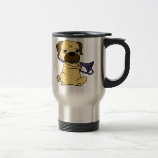 Funny Pug Dog Playing Trombone Travel Mug