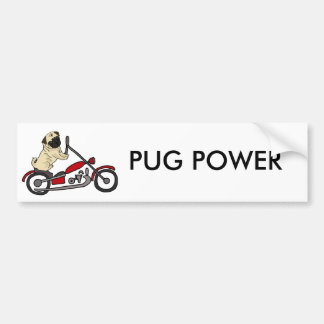 Funny Pug Dog Riding Motorcycle Art Bumper Sticker