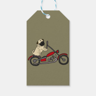 Funny Pug Dog Riding Motorcycle Art Gift Tags