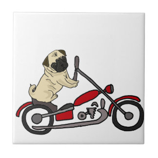 Funny Pug Dog Riding Motorcycle Art Tile