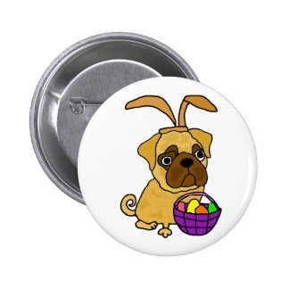 Funny Pug Dog with Easter Bunny Ears 6 Cm Round Badge