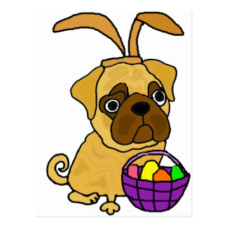 Funny Pug Dog with Easter Bunny Ears Postcard