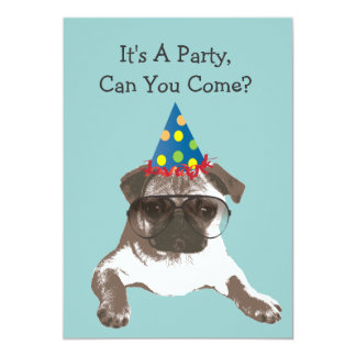 Funny Pug in Glasses Birthday Party Invitation