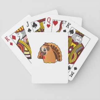 Funny Pug Turkey Funny Thanksgiving Dog Playing Cards