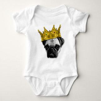 Funny Pug Wearing a Crown PUGLIFE Poop K-9 Baby Bodysuit