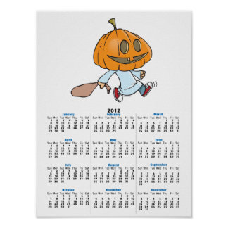 funny pumpkin head trick or treater poster