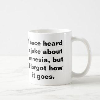 Funny pun about amnesia basic white mug