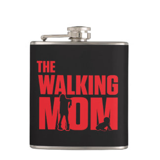 Funny pun the walking mom jokes for halloween hip flask