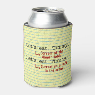 Funny Punctuation Grammar Monogrammed Can Cooler