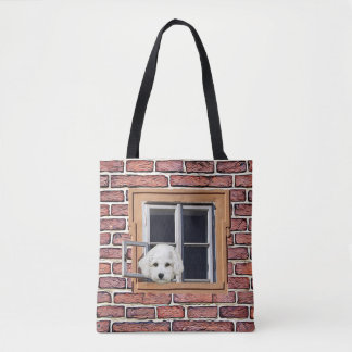 Funny Puppy and Kitty Staring out the Window Bag