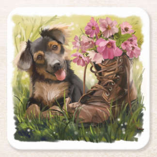 Funny puppy and shoes with flowers square paper coaster