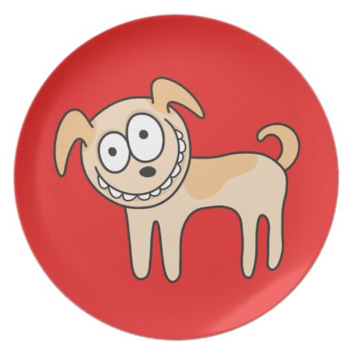 Funny puppy dog cute kids animal cartoon on red plates