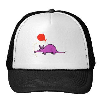 Funny Purple Aardvark with Orange Balloon Cap