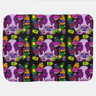 Funny Purple Cow and Milk Abstract Art Receiving Blanket