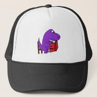 Funny Purple Dinosaur Reading Cookbook Trucker Hat