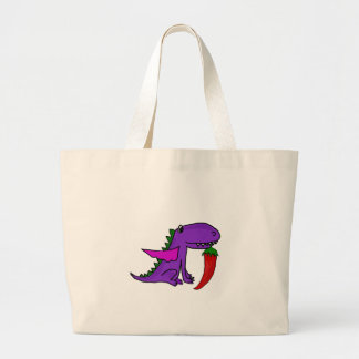 Funny Purple Dragon Eating Red Hot Pepper cartoon Large Tote Bag