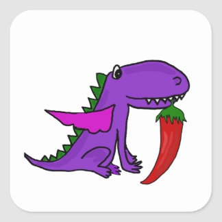Funny Purple Dragon Eating Red Hot Pepper cartoon Square Sticker