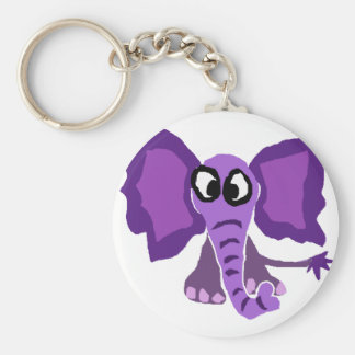 Funny Purple Elephant Primitive Art Key Ring