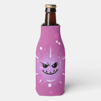 Funny Purple Face with Sneaky Smile Bottle Cooler