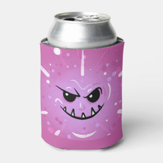 Funny Purple Face with Sneaky Smile Can Cooler