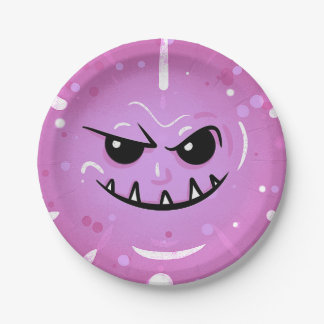 Funny Purple Face with Sneaky Smile Paper Plate