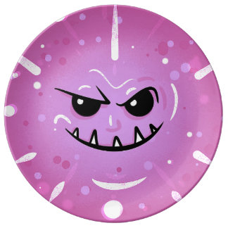Funny Purple Face with Sneaky Smile Plate