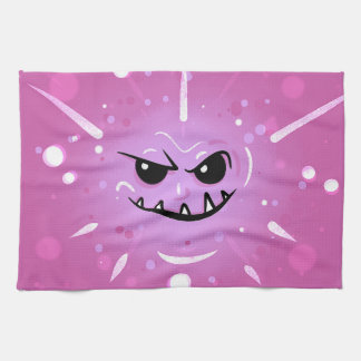 Funny Purple Face with Sneaky Smile Tea Towel