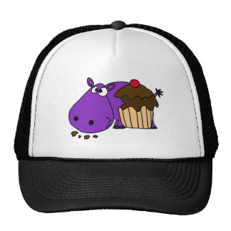 Funny Purple Hippo Eating Cupcake Hats