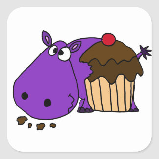 Funny Purple Hippo Eating Cupcake Square Sticker