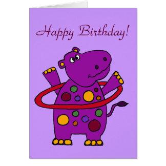 Funny Purple Hippo Playing Hula Hoop Card