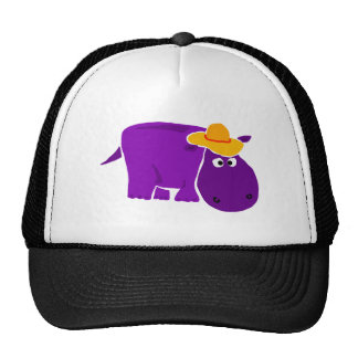 Funny Purple Hippo Wearing Yellow Hat
