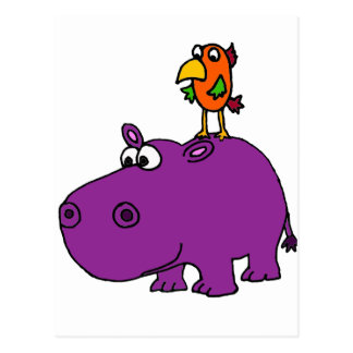 Funny Purple Hippo with Parrot Cartoon Postcard